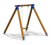 Качель одинарная на деревянных стойках на цепях