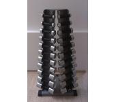 Стойка с набором гантелей хром-пластик (0,5 - 10 к